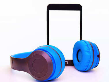 Mobile phone with headphones .