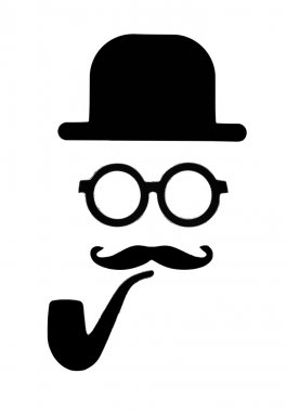 bowler, glasses, mustache and pipe