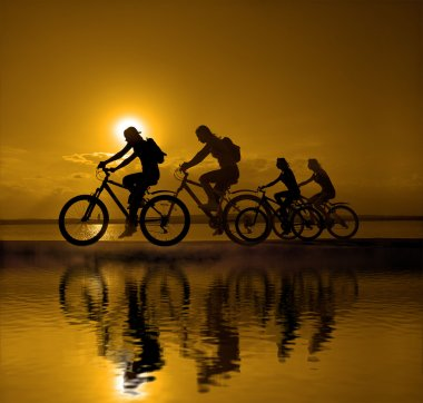 company of friends on bicycles outdoors