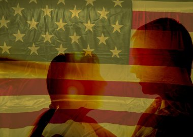 silhouettes against american flag