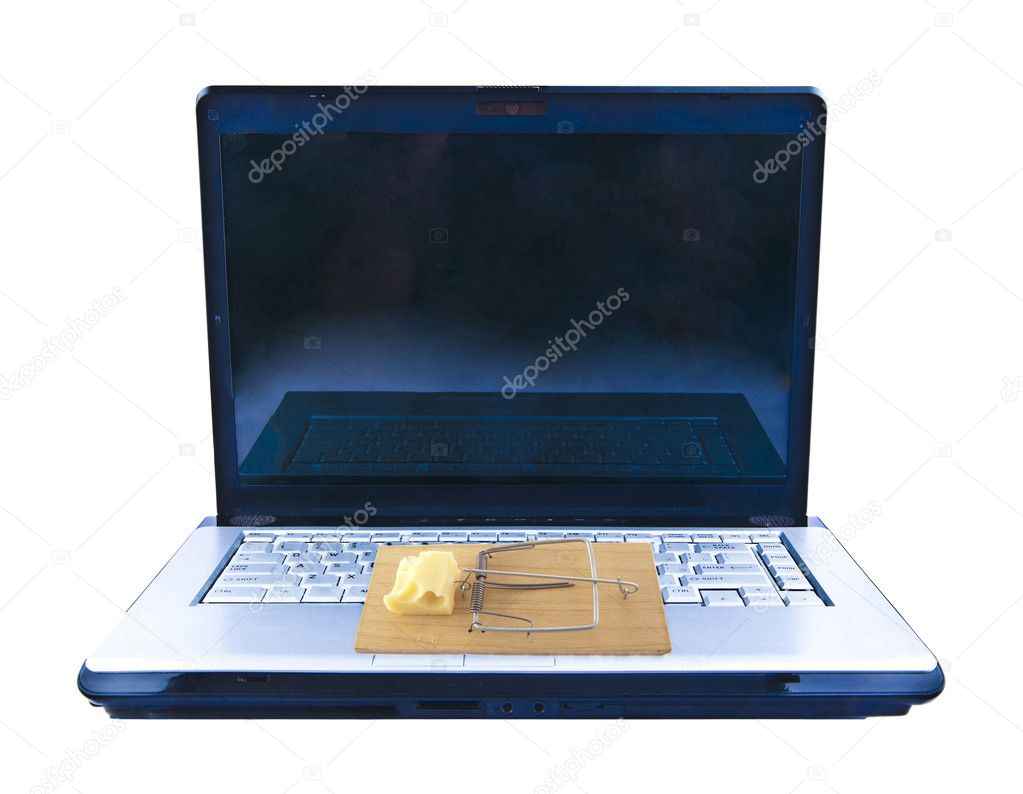 Open Laptop with mousetrap