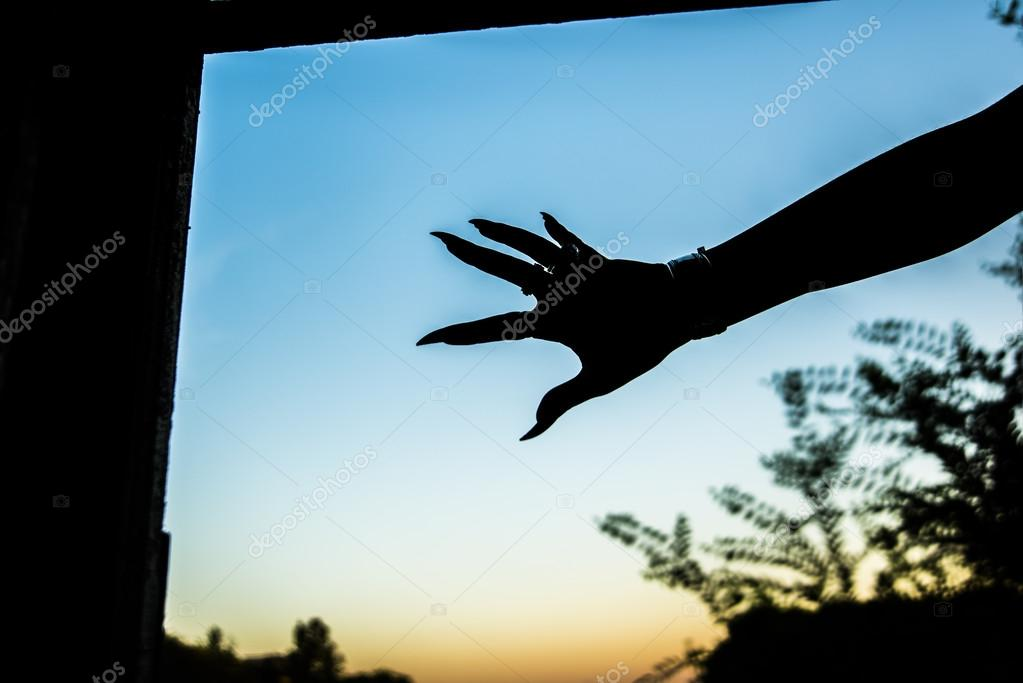 Silhouette of female hand with long clutches