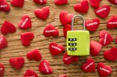green lock and   red hearts
