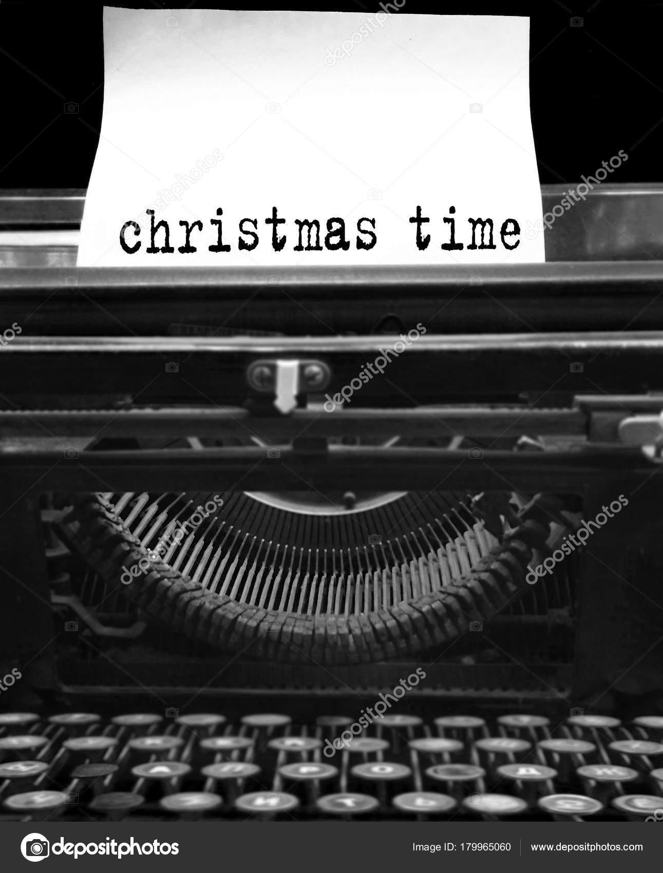 Tiempo Navidad Palabras Vintage Retro Negro Entre Máquina Escribir ...