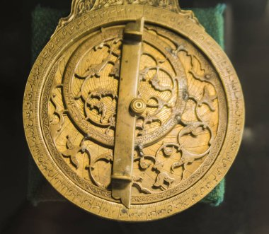 TASHKENT, UZBEKISTAN - OCTOBER 12, 2016:  Antique brass astrolabe made by an Armenian merchant named Vanandetsi. XVIII Century.