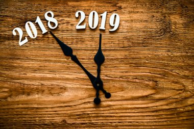 new year 2019.  wooden clock face showing  end of 2018. Happy new year 2019. holiday time background.