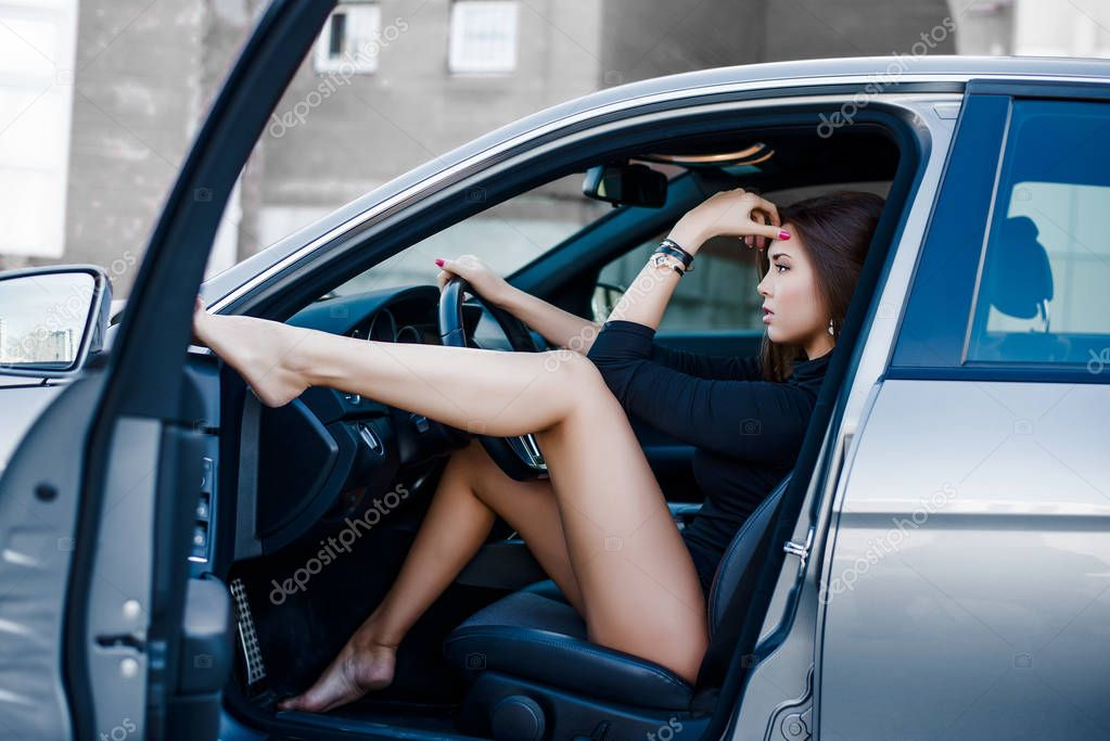 Pictures Dreamgirl  Portrait Young Sexy Brunette Dream Girl Sitting Luxury Black -5338