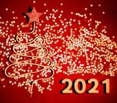 Vánoční strom z hodně konfety a krajky na vinobraní stylu dřevěné textury. Šťastný nový rok 2021