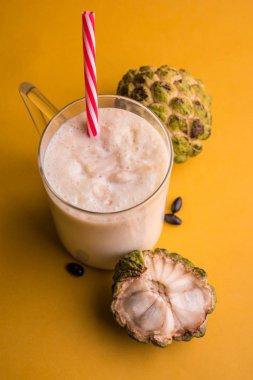 custard apple milk shake. Custard apple or sitafal pulp blended with milk. sitafal milkshake