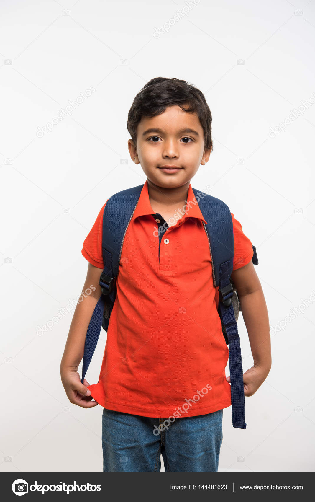 Indian Cute Kid Or Boy Leaving Or Going To School With