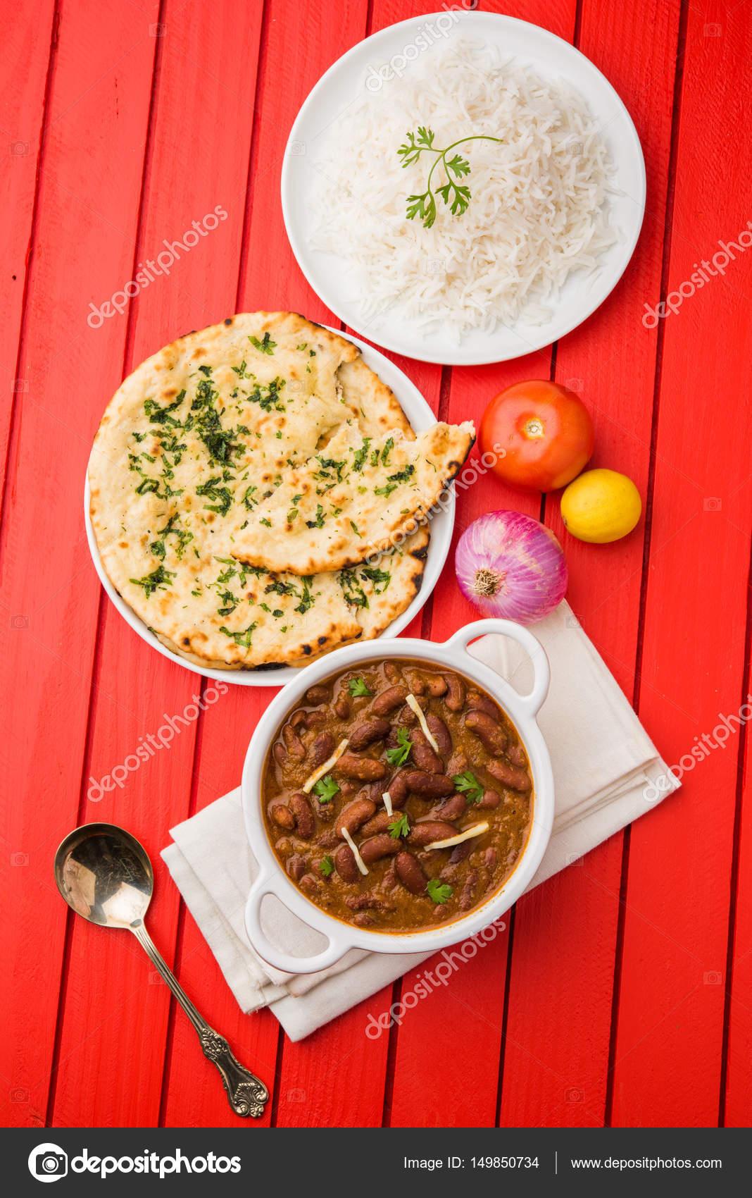 Curry Fasoli Lub Rajma Lub Rajmah Chawal I Roti Typowe Polnocno