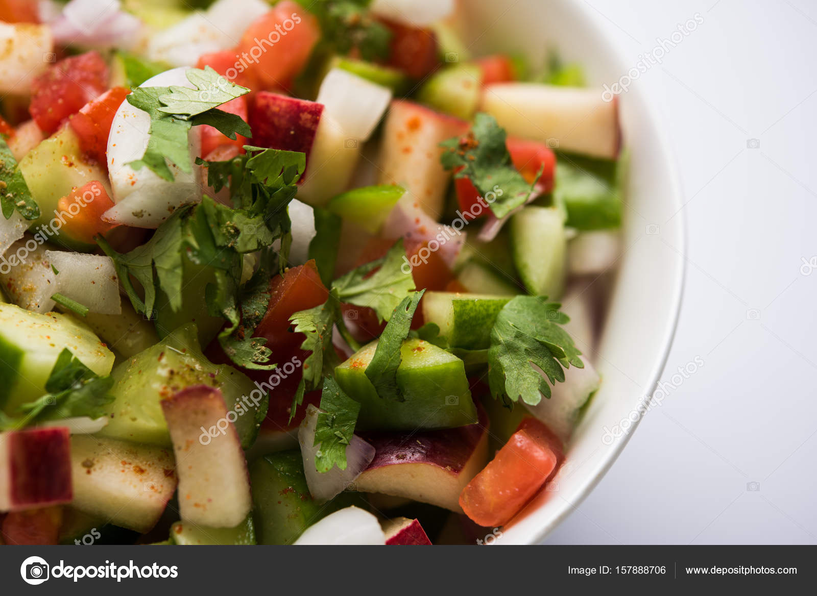 Indian Green Salad Also Known As Kachumber Is A Colourful Salad Dish In Indian Cuisine Consisting Of Fresh Chopped Tomatoes Cucumbers Onions And Sometimes Chili Peppers Selective Focus Stock Photo Image