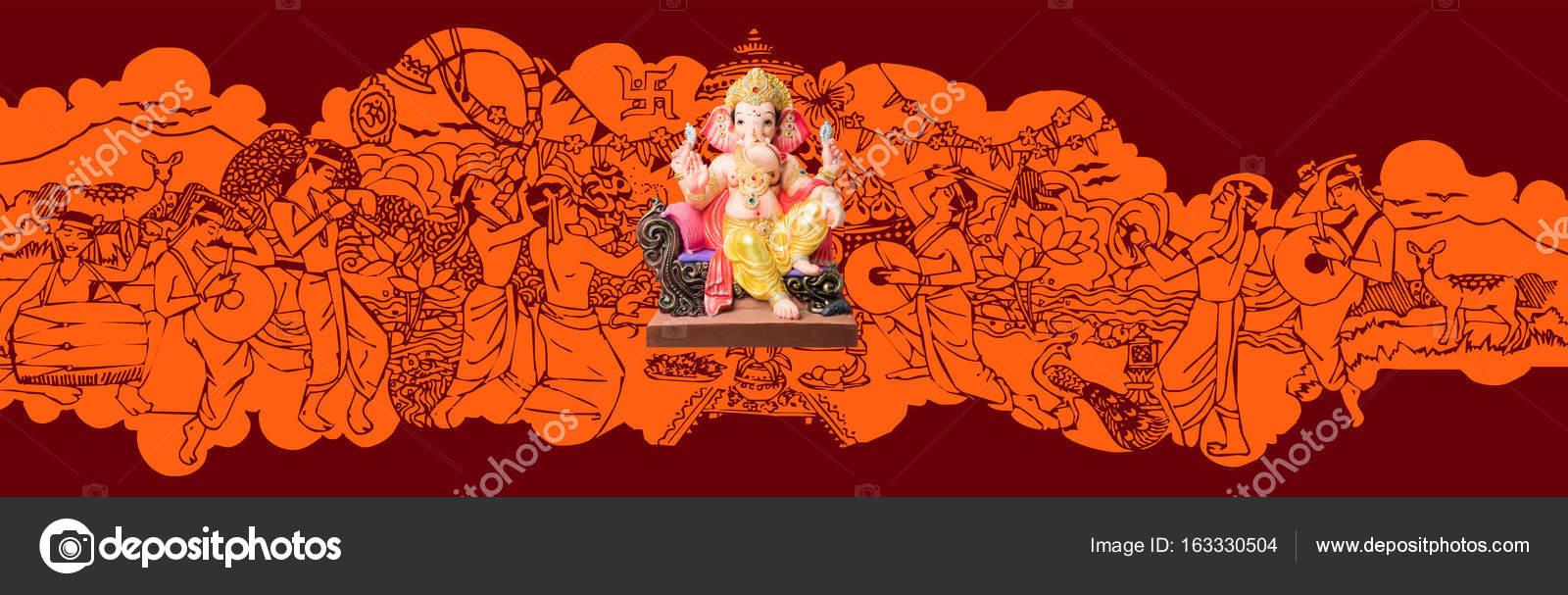 Ganapati Or Ganesh Festival Or Happy Ganesh Chaturthi Greeting Card