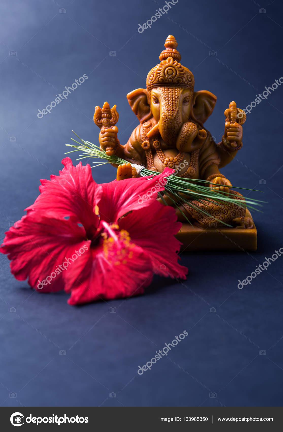 Ganesh 3d Wallpaper Full Size Happy Ganesh Chaturthi Greeting Card Showing Photograph Of Lord Ganesha Idol Pooja Or Puja Thali Bundi Laddu Modak Durva And Hibiscus Or Jasvand Flower Stock Photo C