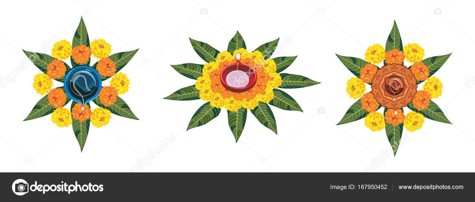 Stock Illustration Of Flower Rangoli For Diwali Or Pongal Or Onam Made Using Marigold Or Zendu