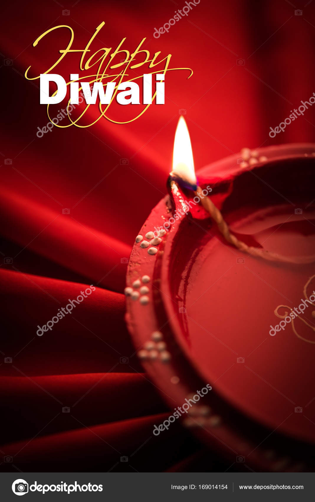 Happy Diwali Greeting Card Big Illuminated Diwali Diya Or Clay