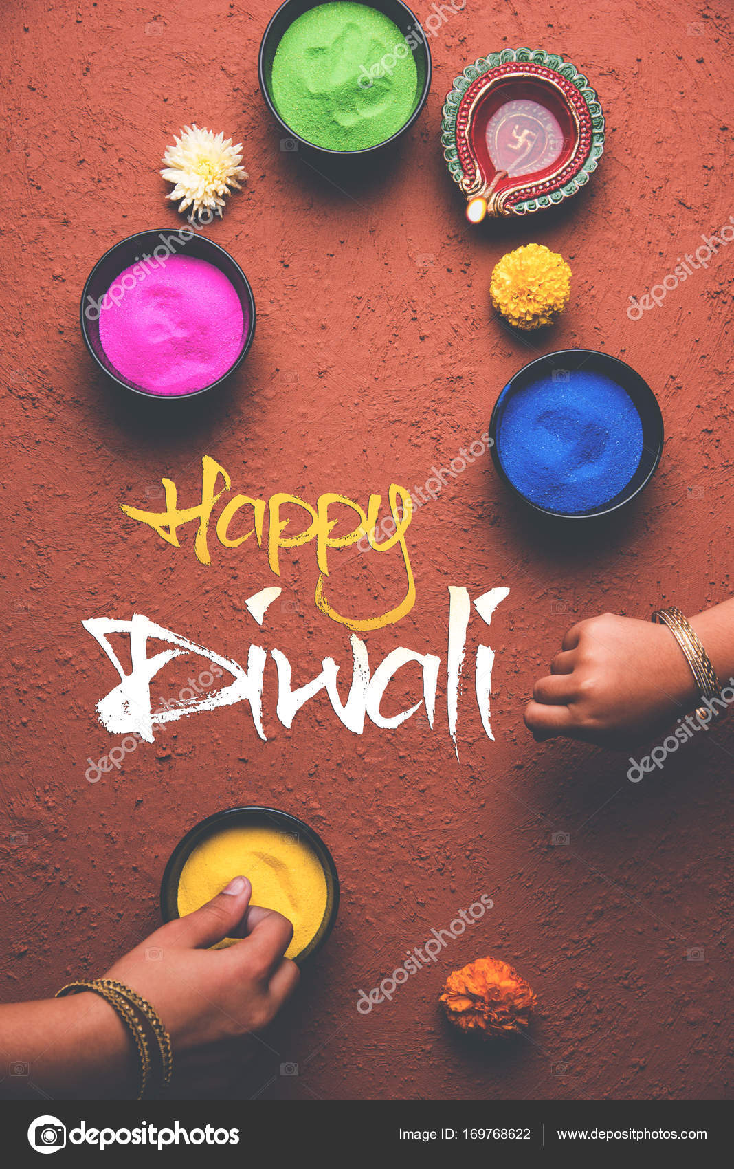 Stock photo of happy diwali greeting card clicked using elements of stock photo of happy diwali greeting card clicked using elements of diwali festival like colourful rangoli in bowls diwali clay lamp or diya and girl or m4hsunfo