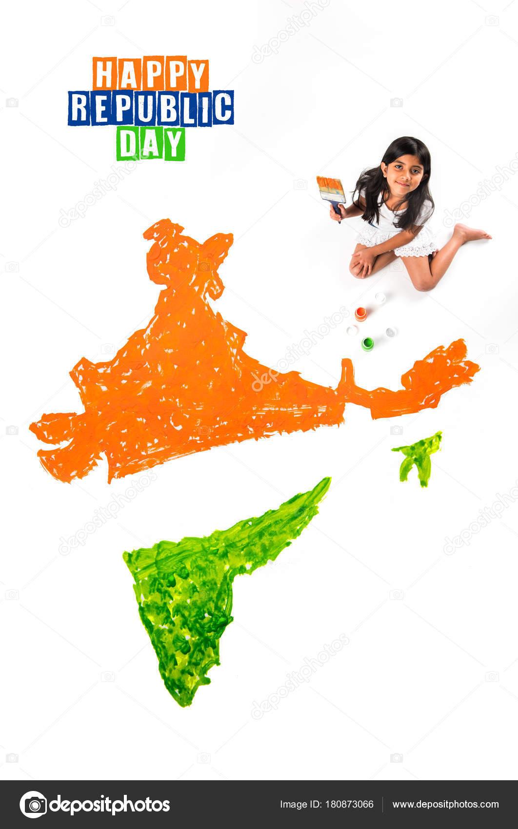 Niña India Pintar Colorear Mapa Bandera Tricolor Piso Con Pintura ...