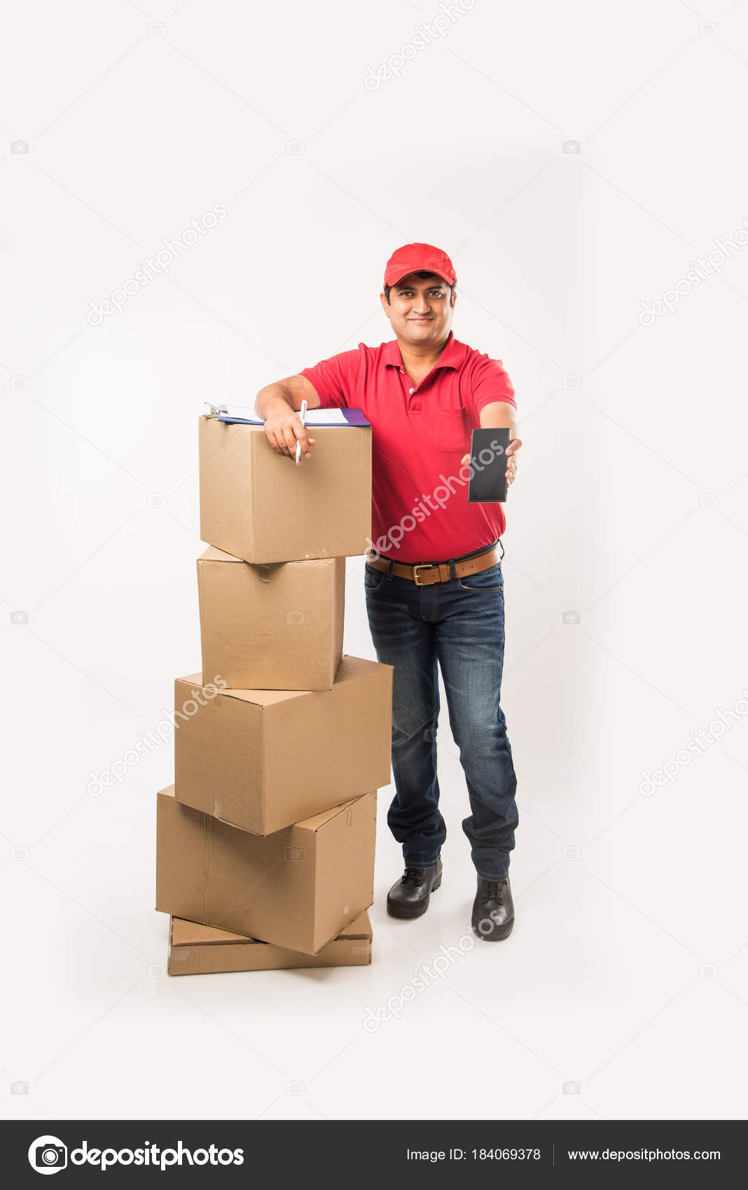 Delivery Concept Portrait Happy Indian Delivery Man Red