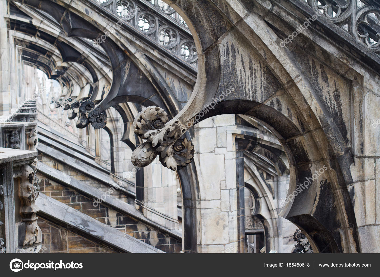 Gothic Architecture Detail Columns Stock Photo