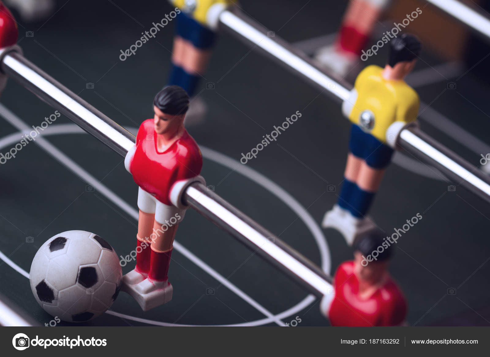 Nahaufnahme Des Fussball Figur Auf Tischfussball Tischkicker