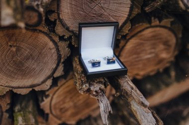 Elegant cuff links in a box stand on a pile of firewood and logs. Wedding accessory