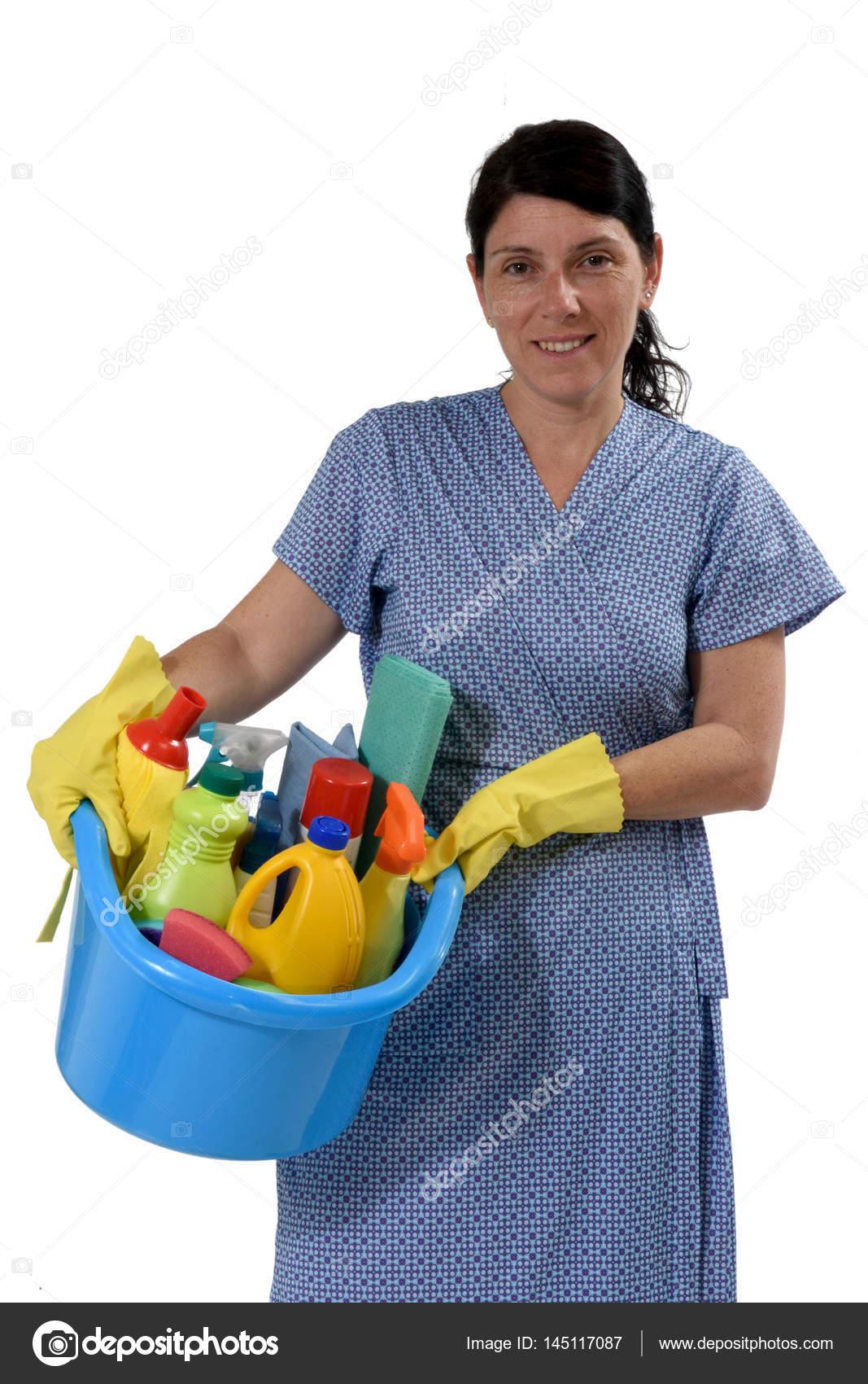 Donna delle pulizie su bianco — Foto Stock © MariaiC #145117087