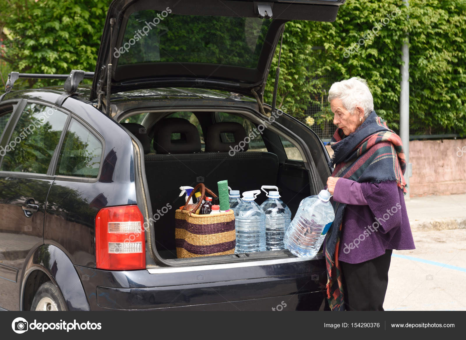 Old woman downloading the car purchase — Stock Photo © MariaiC ...