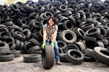 woman in a tire recycling plant