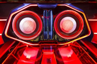 A powerful audio system with amplifiers speakers and lcd monitor
