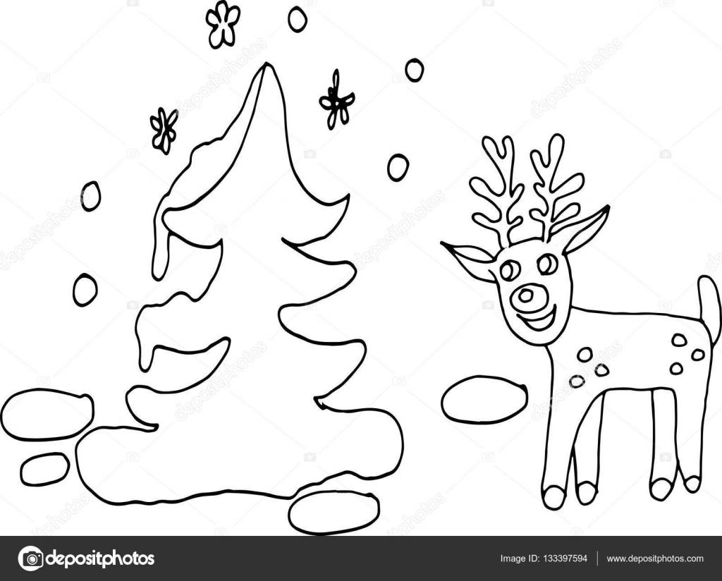 çocuk Boyama Kitabı Için Komik Geyik Ve Köknar Ağacı Taslağını