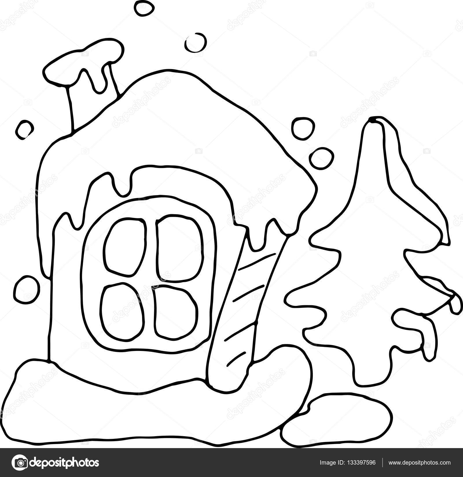 Sketch of funny houses for childrens coloring book Stock Vector