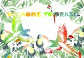 Watercolor banner. Tropical background. Welcome to Brazil