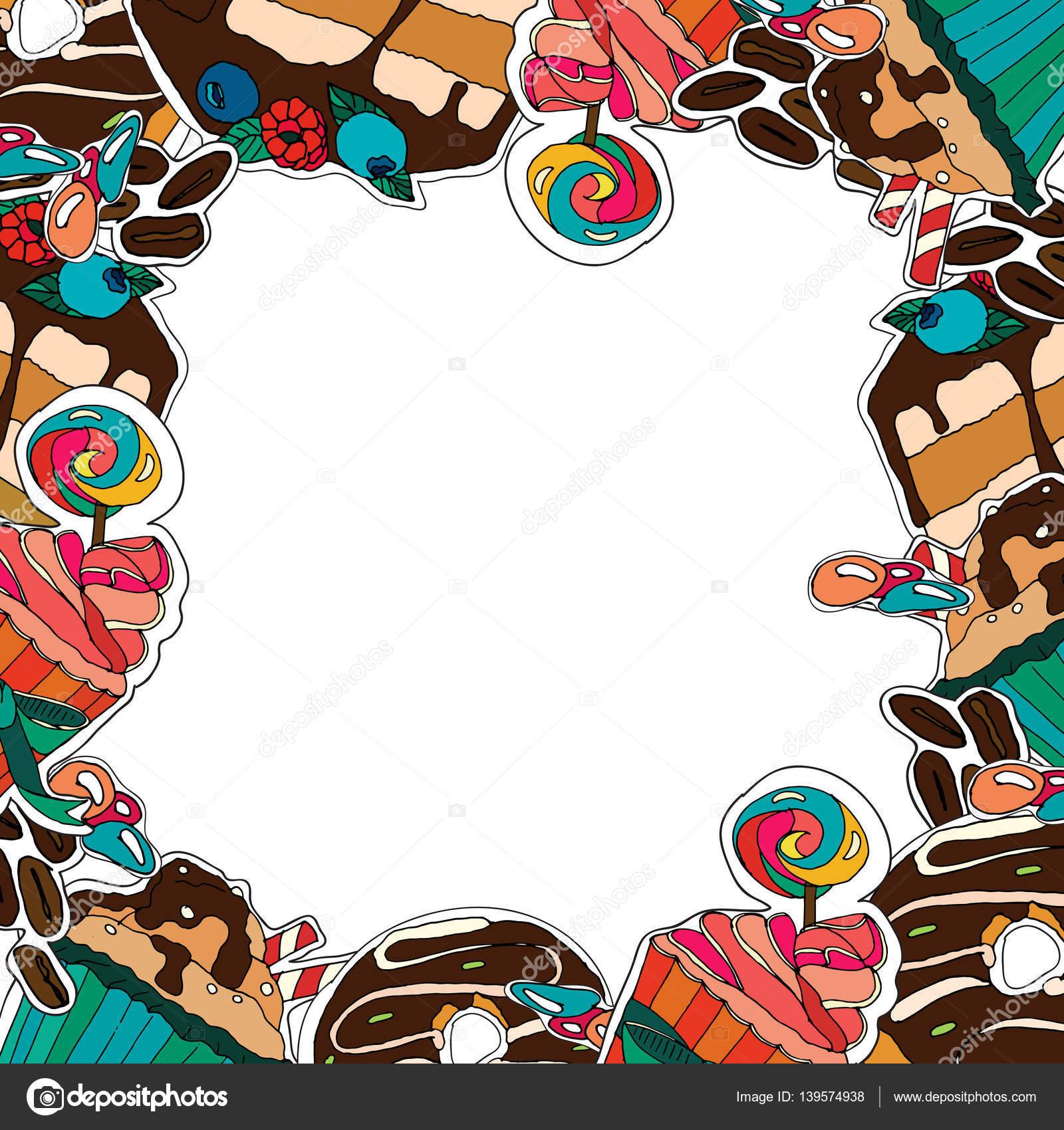 Marco de vectores postres muffins cupcakes dulces - Plantillas para reposteria ...