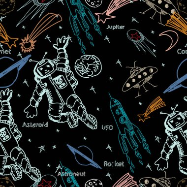 Hand drawn vector seamless pattern. Astronaut and space objects.