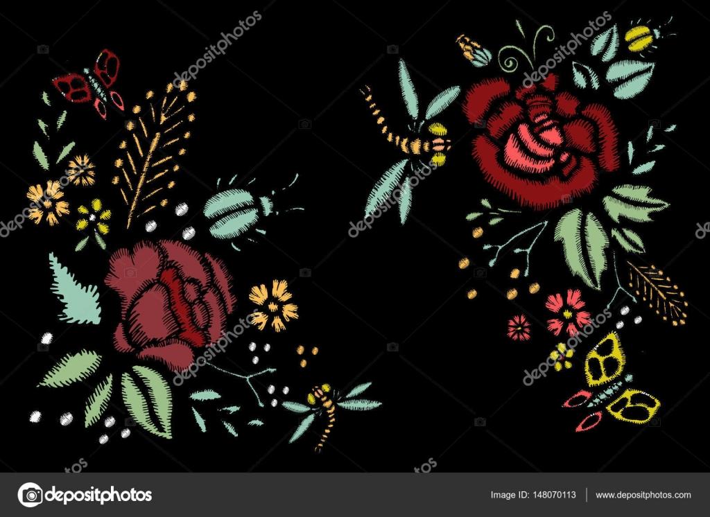 Puntadas de bordado con rosas, flores de Prado, libélulas — Archivo ...