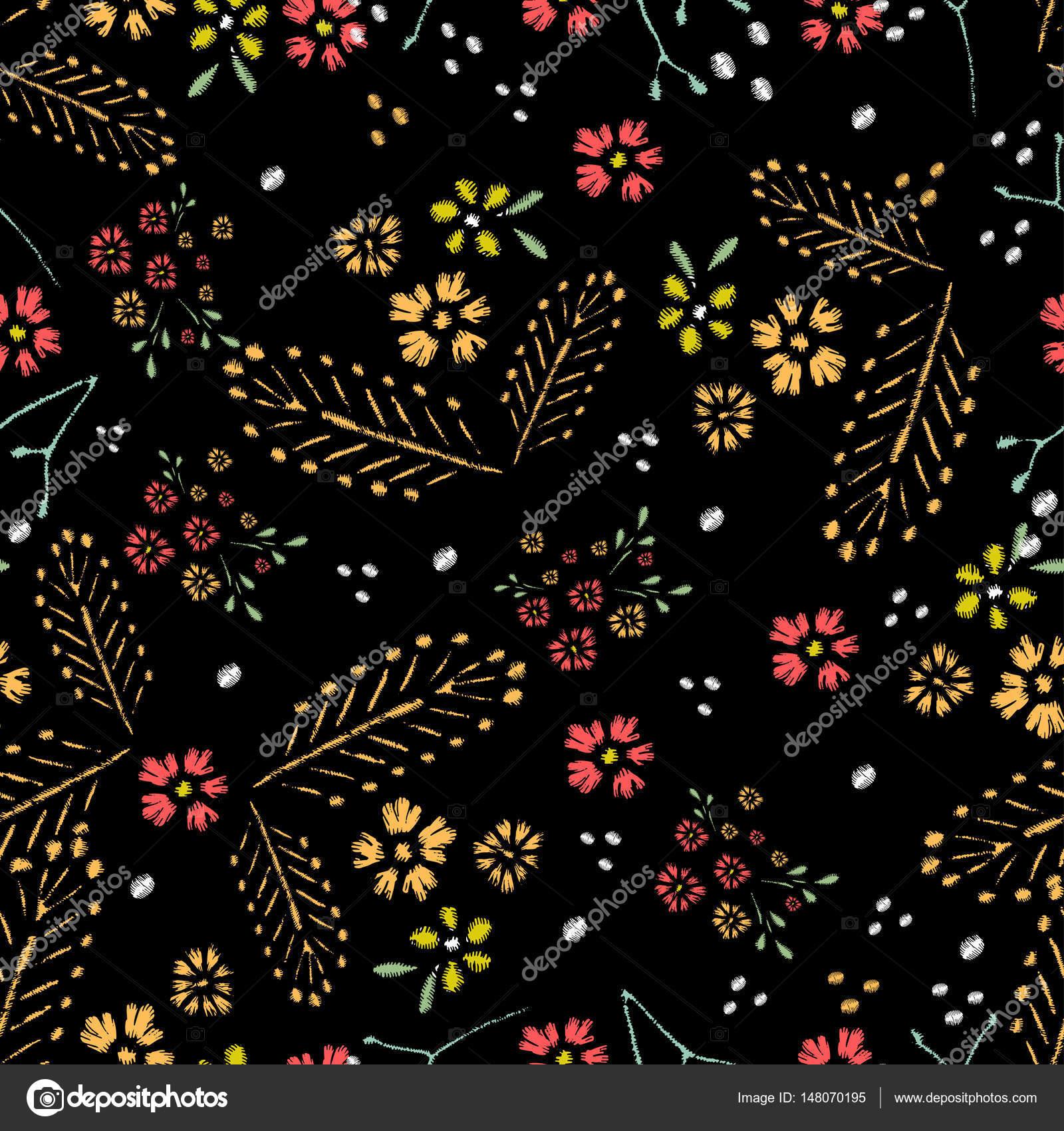 Puntadas de bordado con rosas, de patrones sin fisuras — Archivo ...