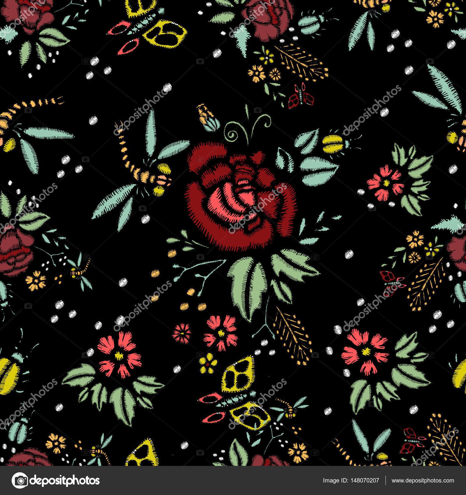 Puntadas de bordado con rosas, de patrones sin fisuras — Vector de ...