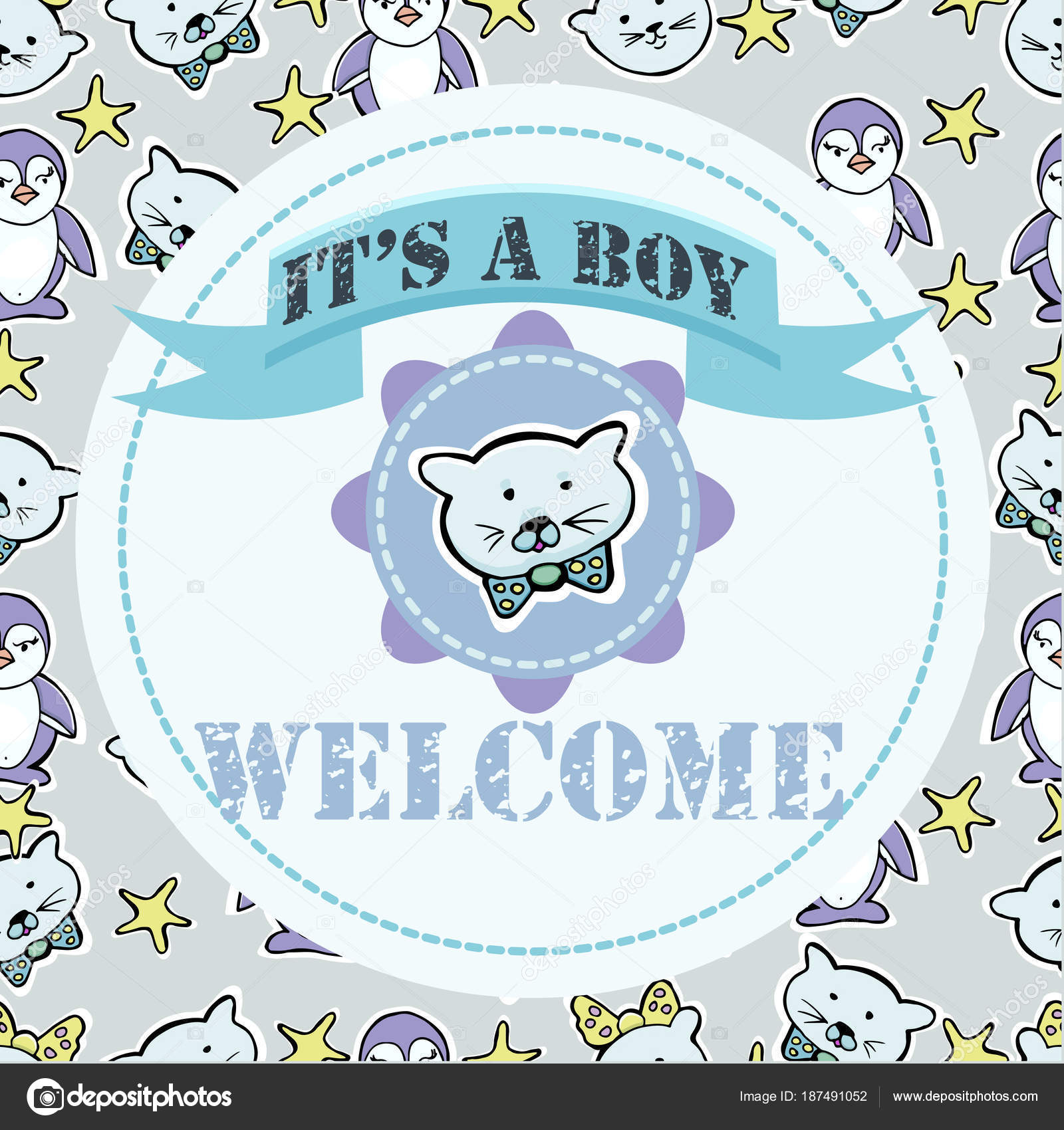 Baby shower and welcome greeting card text its a boy welcome baby shower and welcome greeting card text its a boy welcome little kittens penguins stars stickers vector by bobcat2004mail kristyandbryce Choice Image