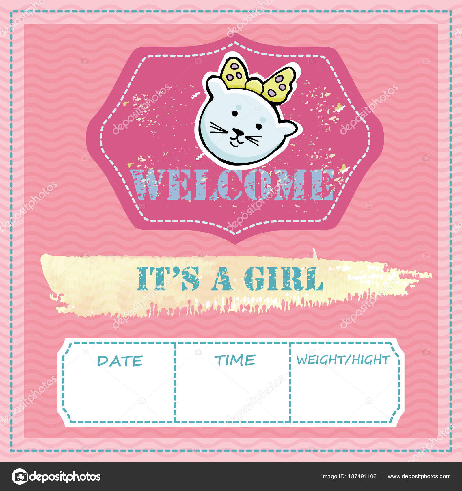 Baby shower and welcome greeting card text its a girl welcome baby shower and welcome greeting card text its a girl welcome stock vector kristyandbryce Choice Image