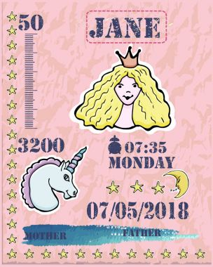 Baby shower card. Baby  newborn metric for girl. Princess, unico