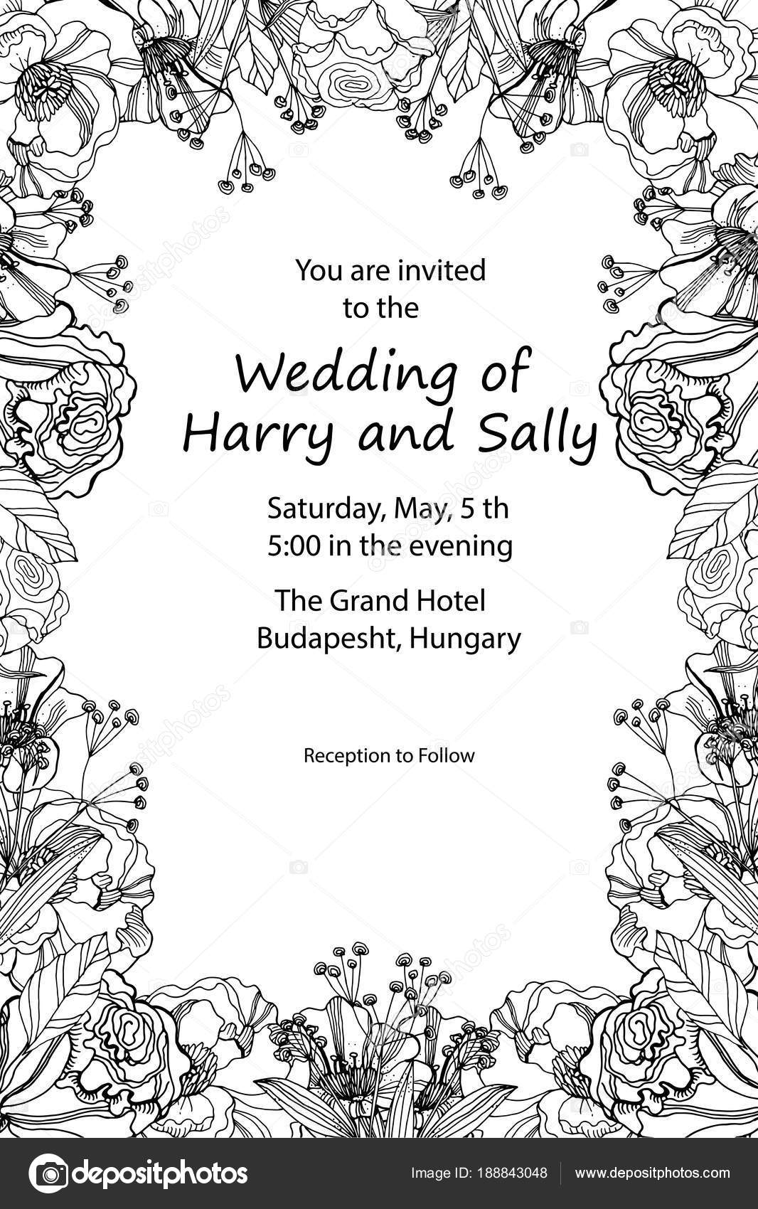 Vintage wedding invitation. Hand drawn vector meadow flowers and ...