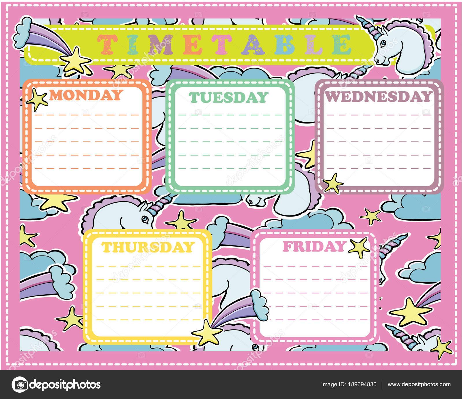 Calendario de cinco días sobre un fondo multicolor con unicornios ...