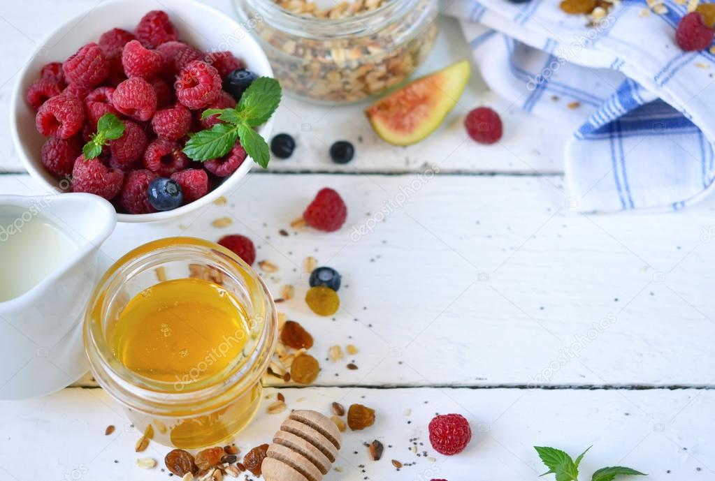 Good Morning Granola With Honey Berries And Fruits White Woo