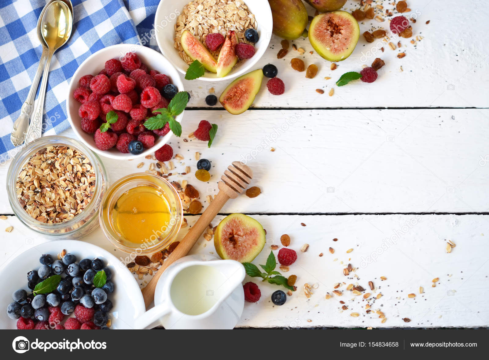 Good Morning Granola With Honey Berries And Fruits Stock Photo