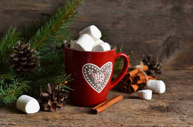 Winter hot drink-hot chocolate with marshmallows in a red bowl