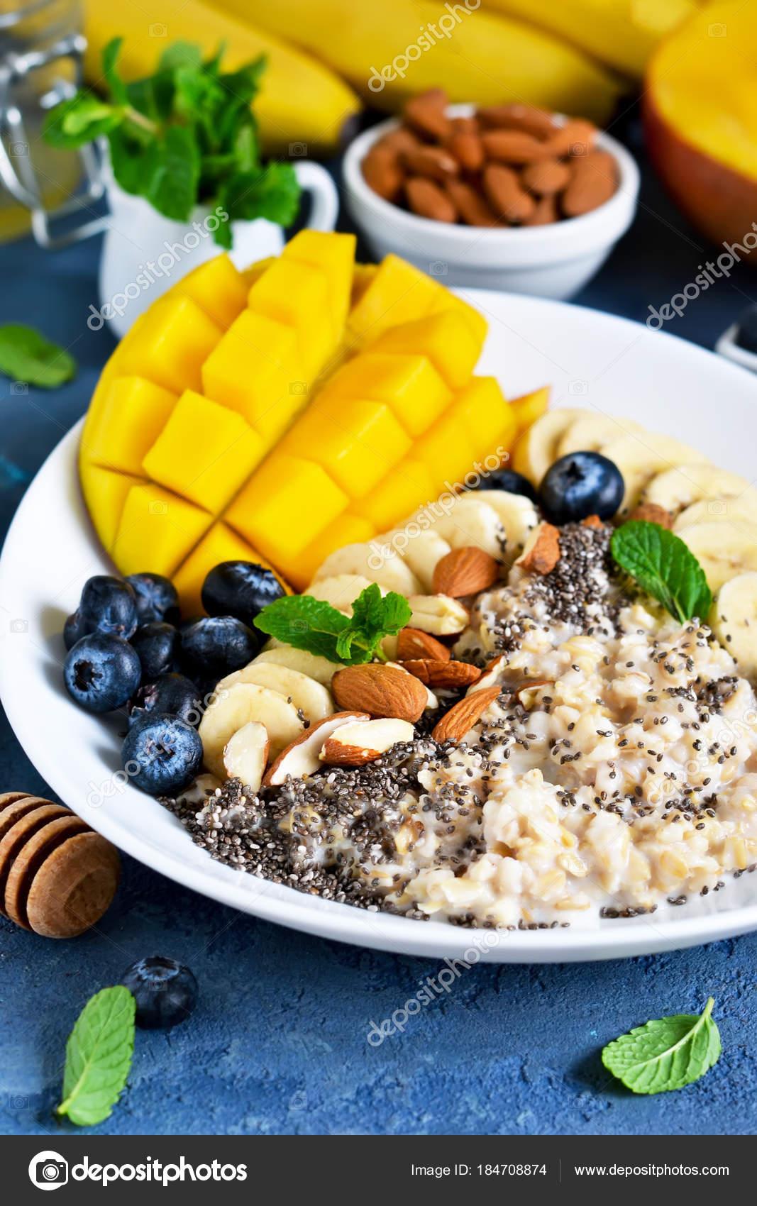 Guten Morgen Frühstück Mit Müsli Banane Mango