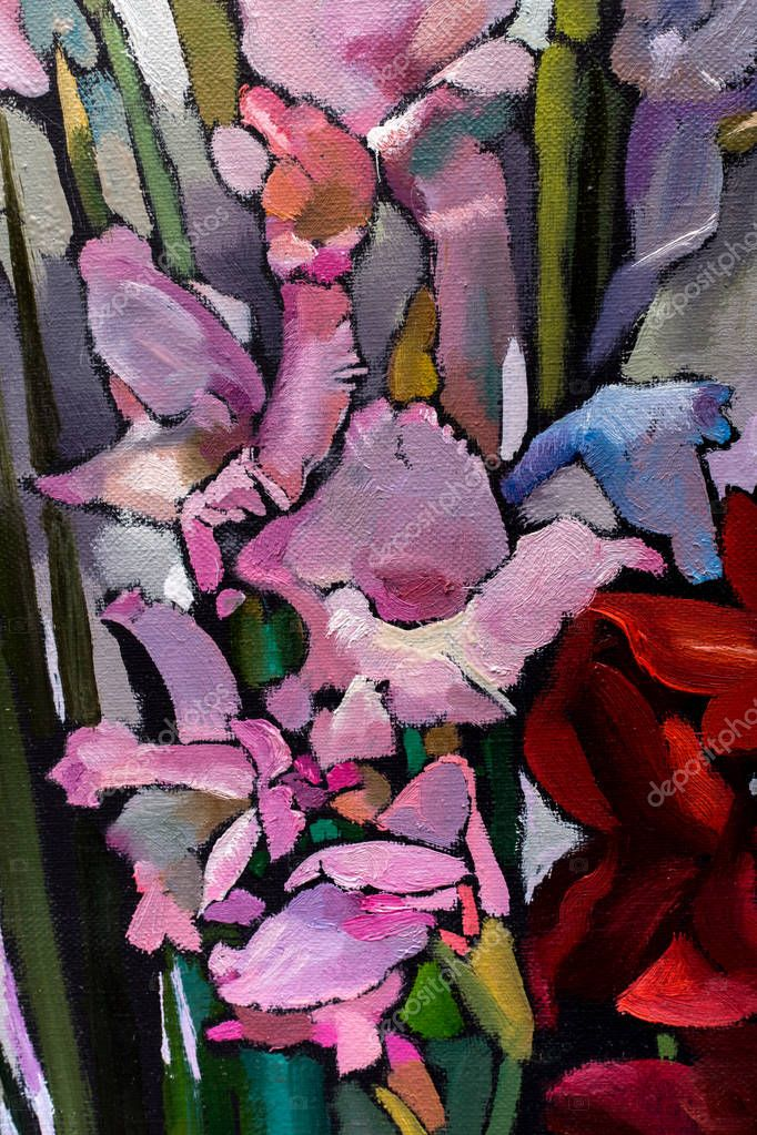 painting still life oil  texture, irises impressionism art, painted color image, backgrounds and wallpaper, floral pattern on canvas