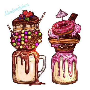 Color Monstershakes In Sketch Style.