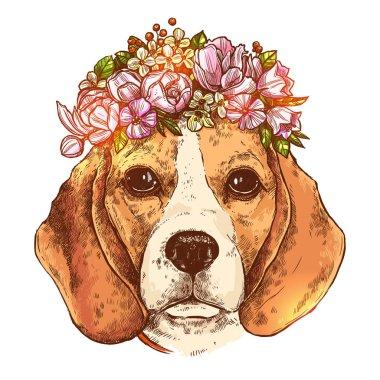Beagle Dog With Flower Wreath